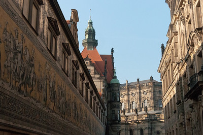 Buildings next to The Fürstenzug in Dresden, Germany