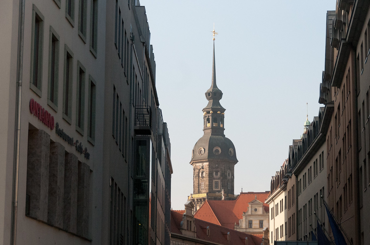 The Clock Tower rising above the city skyline in Dresden, Germany