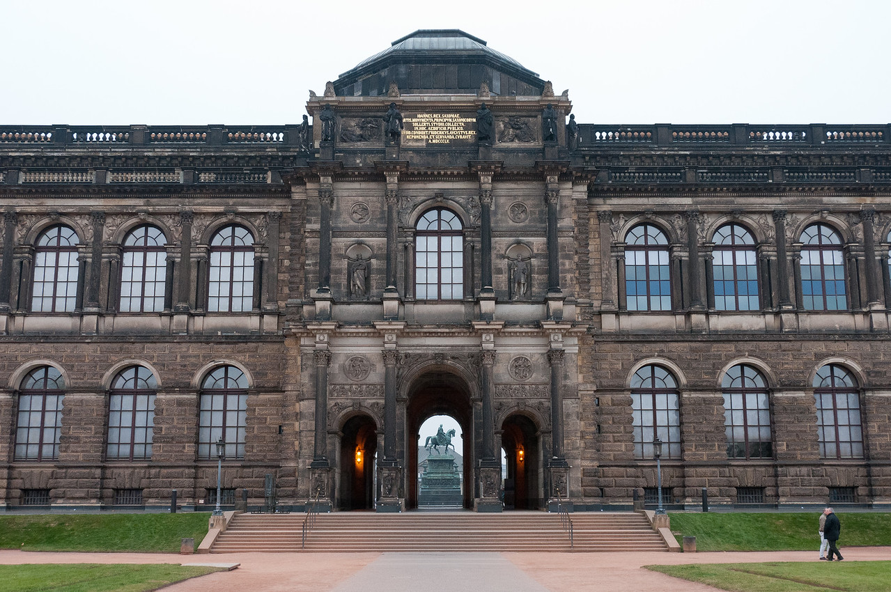 The Semperbau facade in Theaterplatz in Dresden, Germany