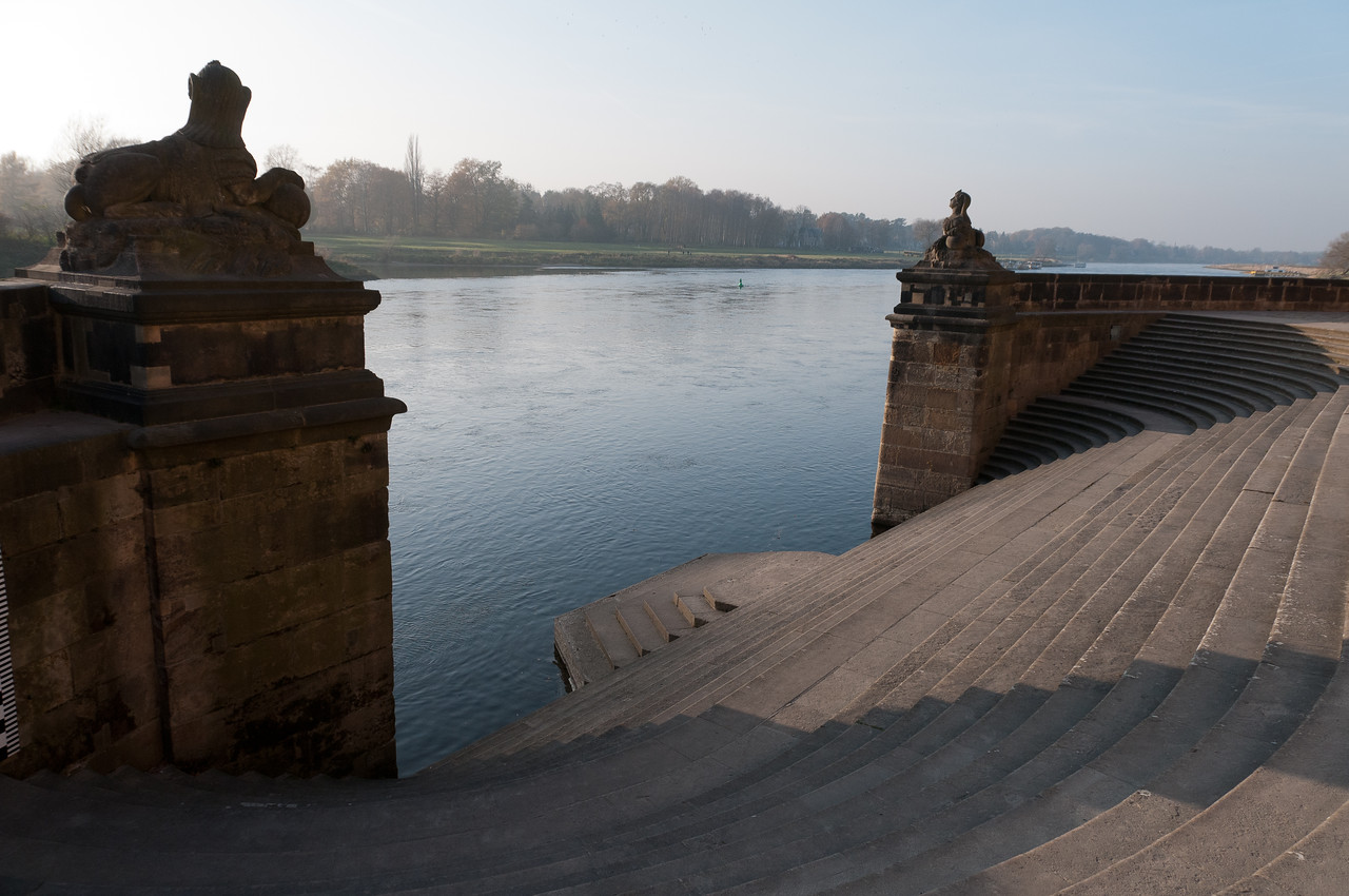 Stairs going down straight into Elbe River in Dresden, Germany