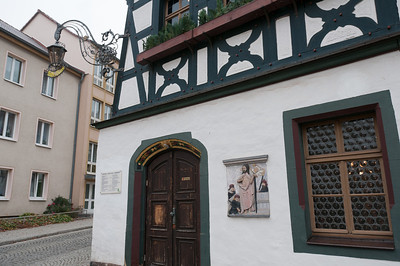 Traditional house in a street in Eisenach, Germany