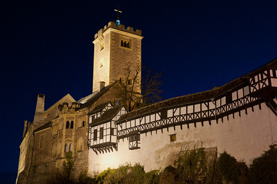 The Wartburg at night in Eisenach, Germany