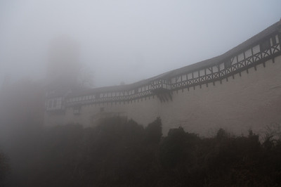 Fog covering the Wartburg castle in Eisenach, Germany
