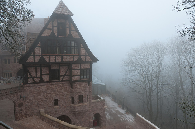 Fog covering Wartburg and surrounding forest - Eisenach, Germany