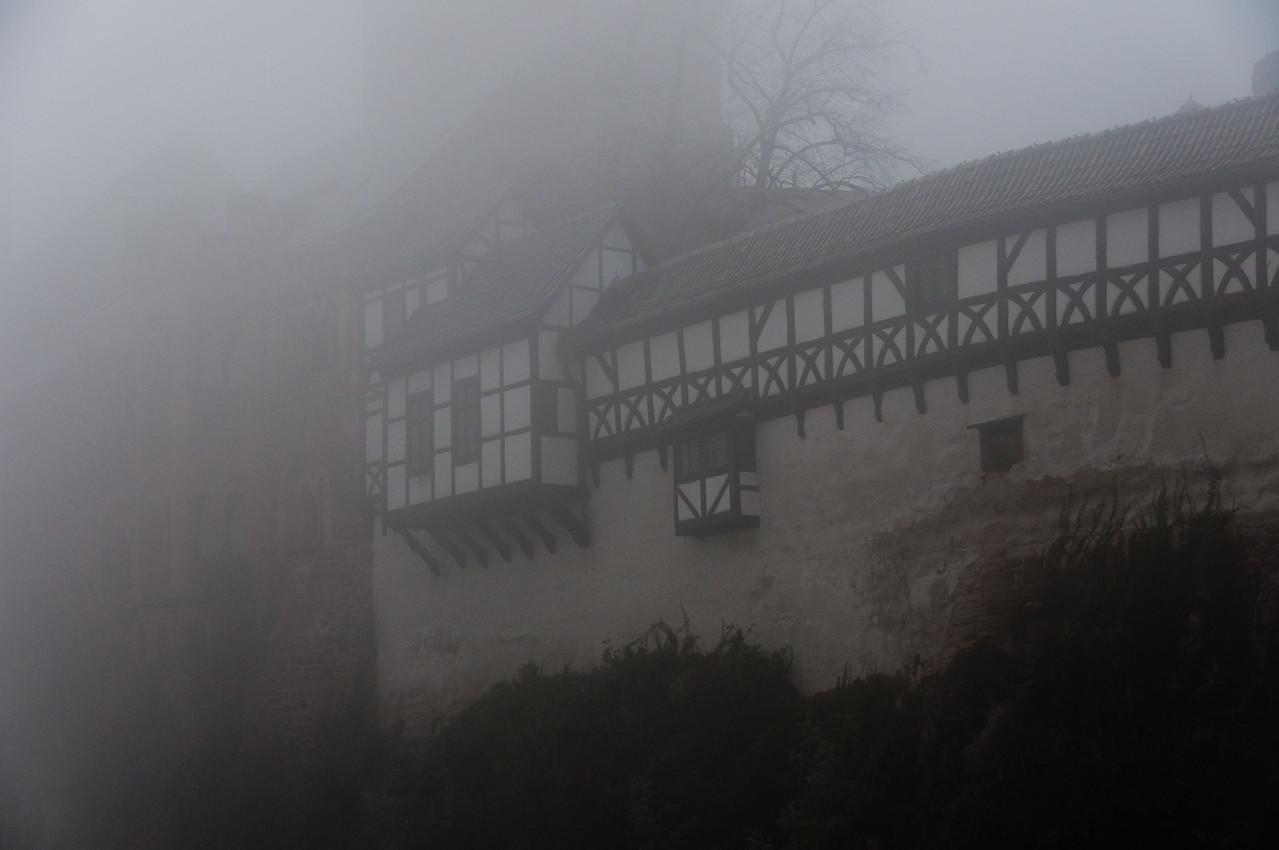 Misty fog covering the Wartburg in Eisenach, Germany