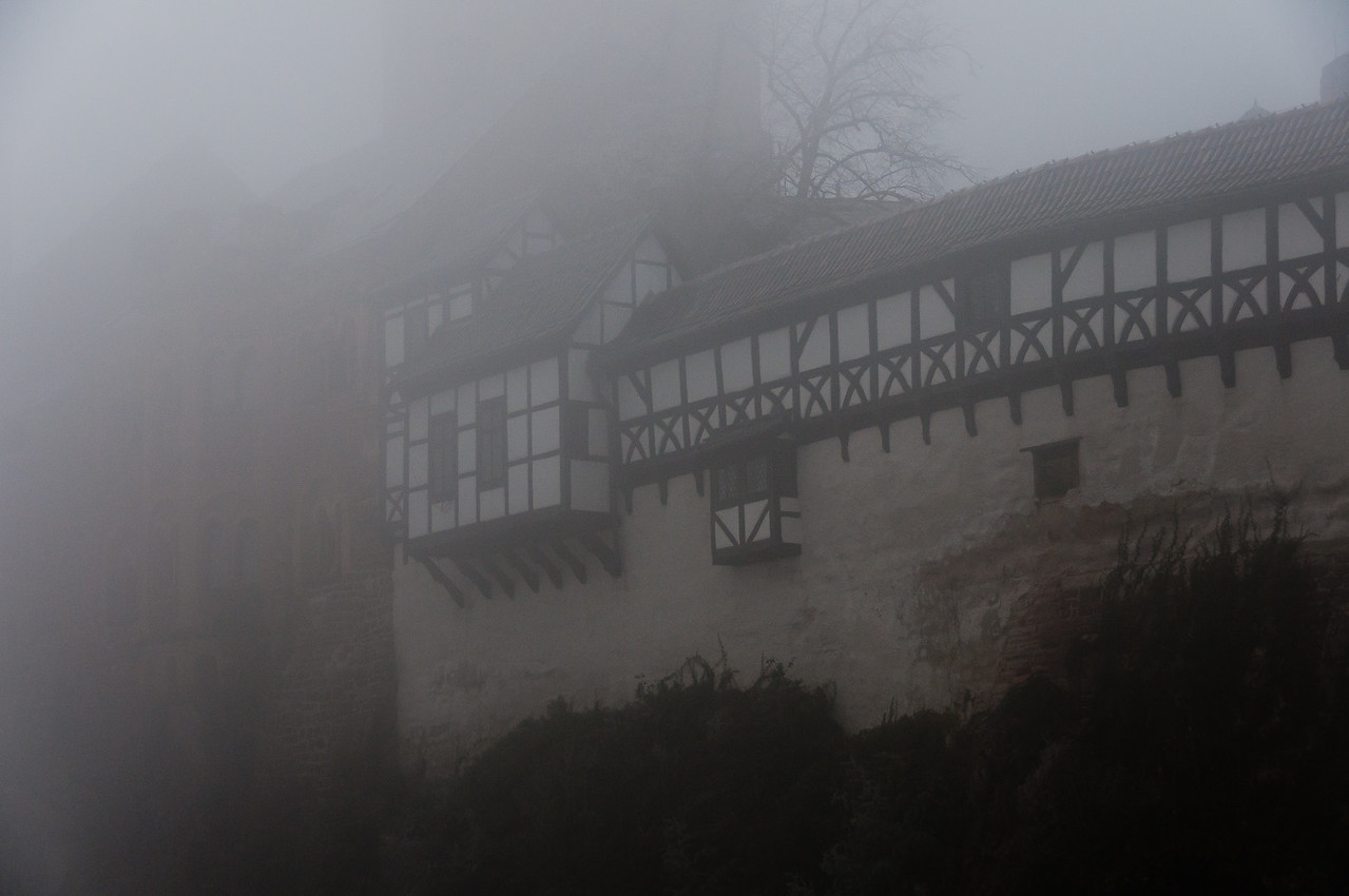 Misty fog covering the Wartburg in Eisenach, Germany