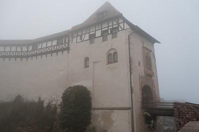 Details of Wartburg amidst fog in Eisenach, Germany