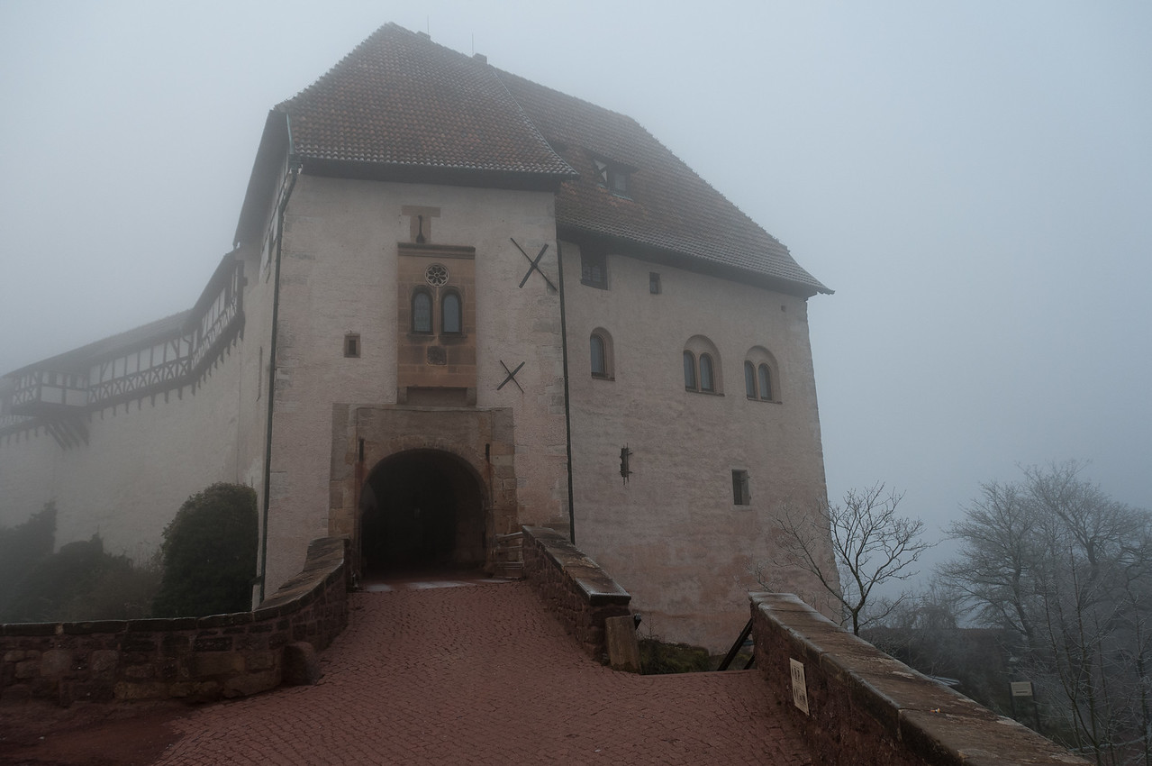Looking at the entrance door to Wartburg castle in Eisenach, Germany