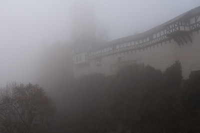 Thick fog outside Wartburg in Eisenach, Germany