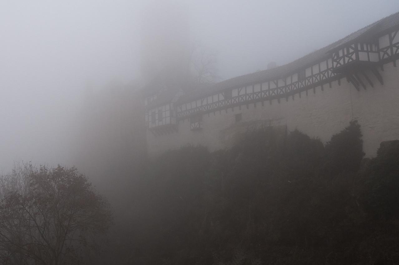 Thick fog outside Wartburg in Eisenach, Germany