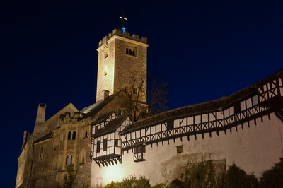 View of the Wartburg castle at night - Eisenach, Germany