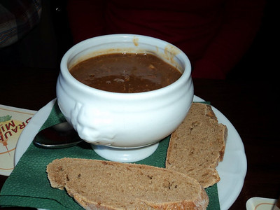 "Goulash soup with dark bread. €4,55.  Served in ""Brauhaus Mitte"" in Berlin  13/05/13"