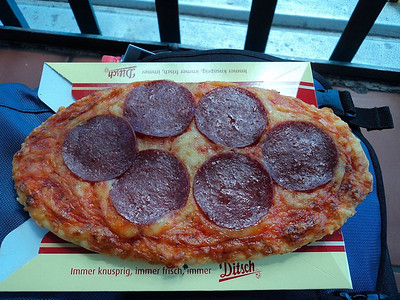 "Pepperoni Pizza Slice. Served in ""Ditsch"" in Hamburg.  15/05/13"