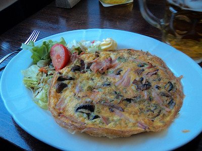 "Ham & Mushroom Omelette with dark bread, butter and small salad  €7.90.  Served in ""Brauhaus Mitte"" in Berlin  14/05/13."