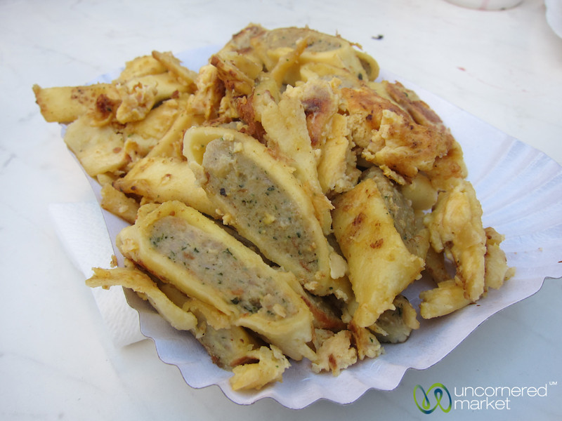 Fried Maultaschen at Tübingen Christmas market - Germany