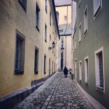 The back streets of Bavaria, old town Regensburg.