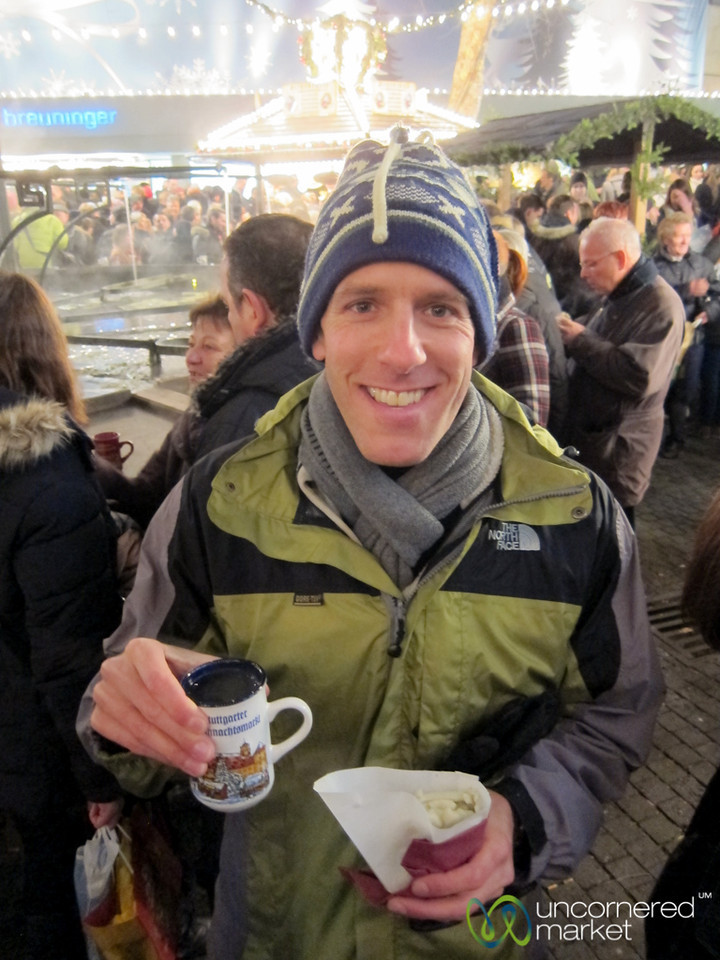 Dan Enjoying a Maultashchen (Swabian Ravioli) at the Stuttgart Christmas Market