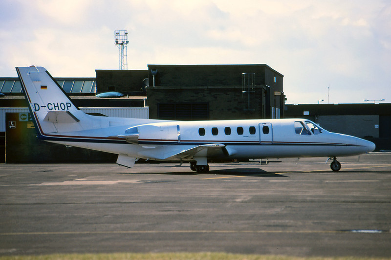 D-CHOP Cessna 550 Citation II c/n 550-0609 Prestwick/EGPK/PIK 19-03-95 (35mm slide)