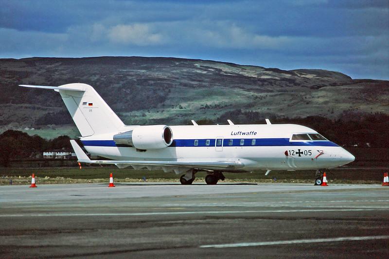 "12+05 Bombardier 601 Challenger ""German Air Force"" c/n 3053 Glasgow/EGPF/GLA 13-05-95 (35mm slide)"