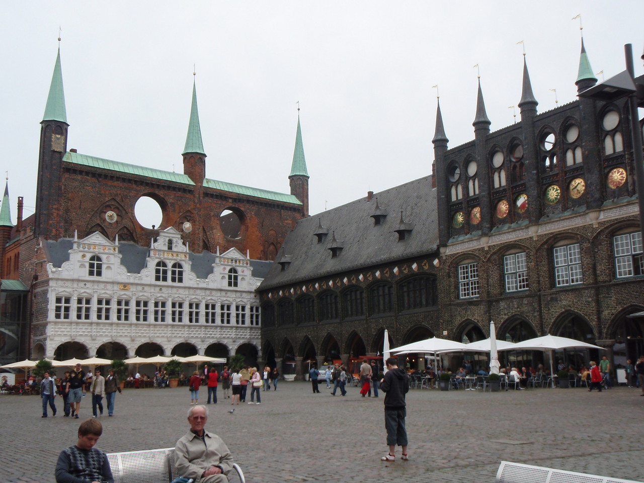 The Lubeck Rathaus and the central square.