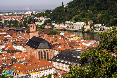 Heidelberg Castle view from top of castle to the city below