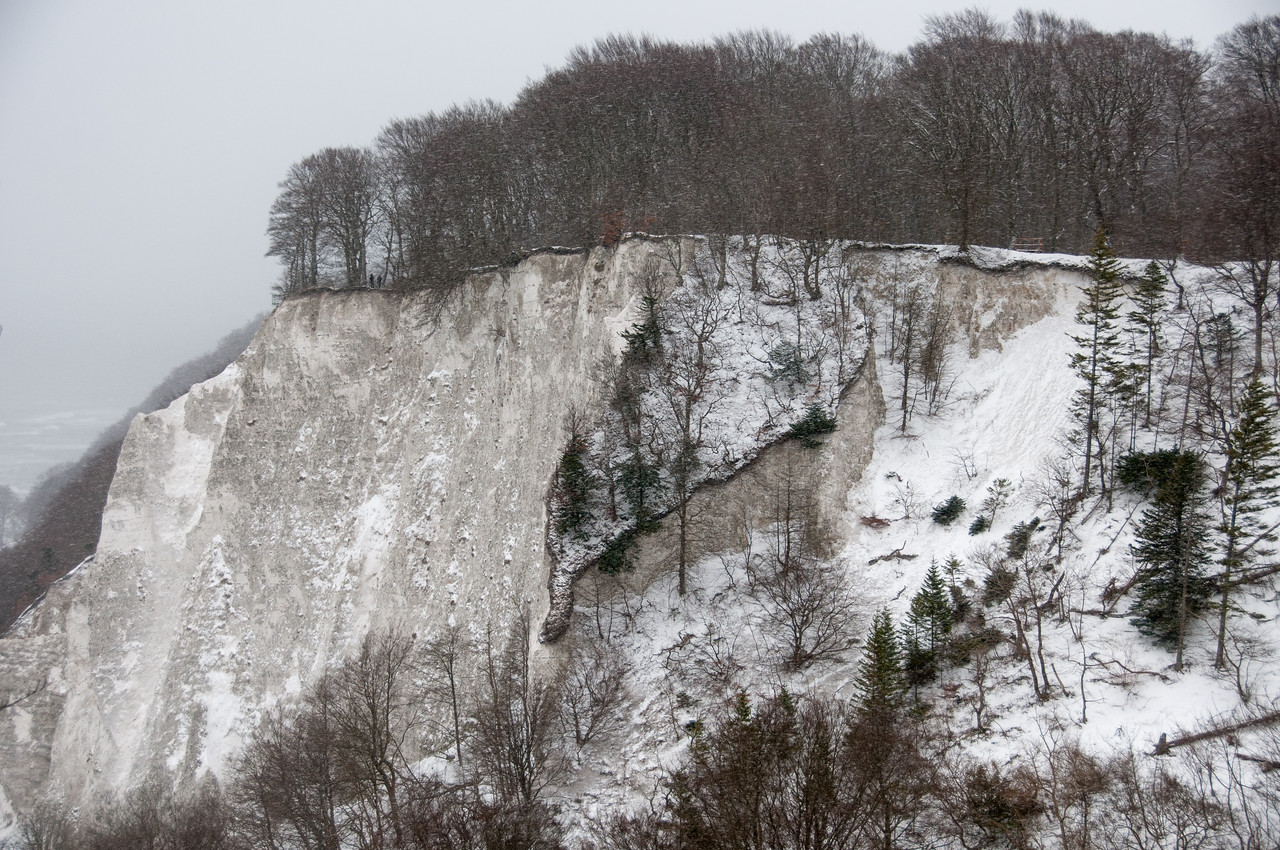 Steep chalk cliffs at Jasmund National Park in Sassnitz, Germany