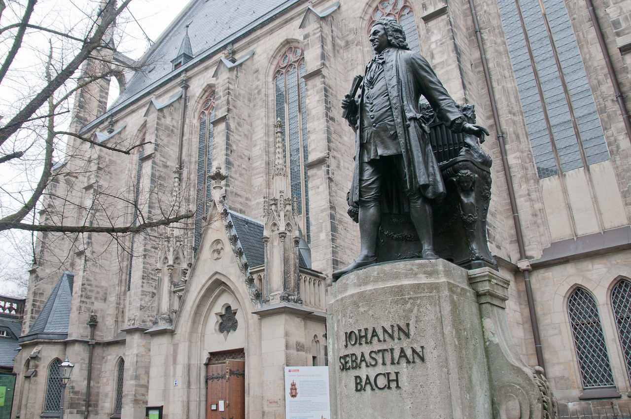 The Bach statue in front of St. Thomas Church in Leipzig, Germany