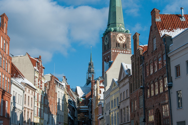 The tower of St. Jakobi Church in Lubeck, Germany
