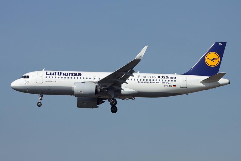 "D-AIND Airbus A320-271N c/n 7078 Frankfurt/EDDF/FRA 24-09-16 ""First to fly A320neo"""