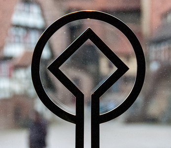 Symbol on a glass window at Maulbronn Monastery in Germany