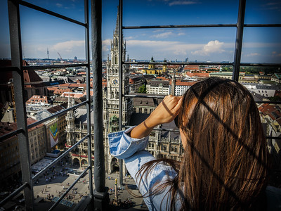 Young lady enjoying the breathtaking view from St. Peter's Church.