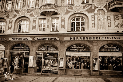 The beautiful shop façade at Rindermarkt.
