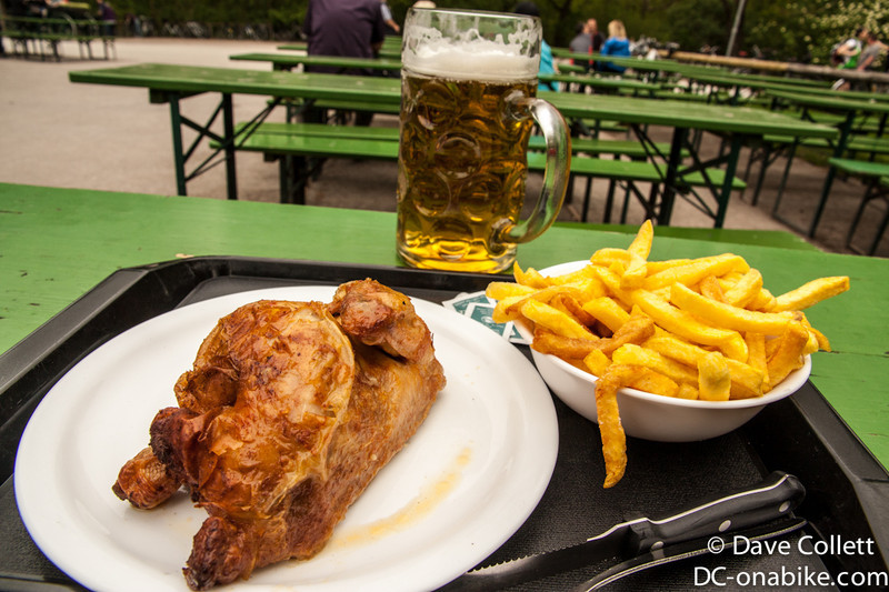 Great food for a cyclist! Beer, chips and half a chicken!