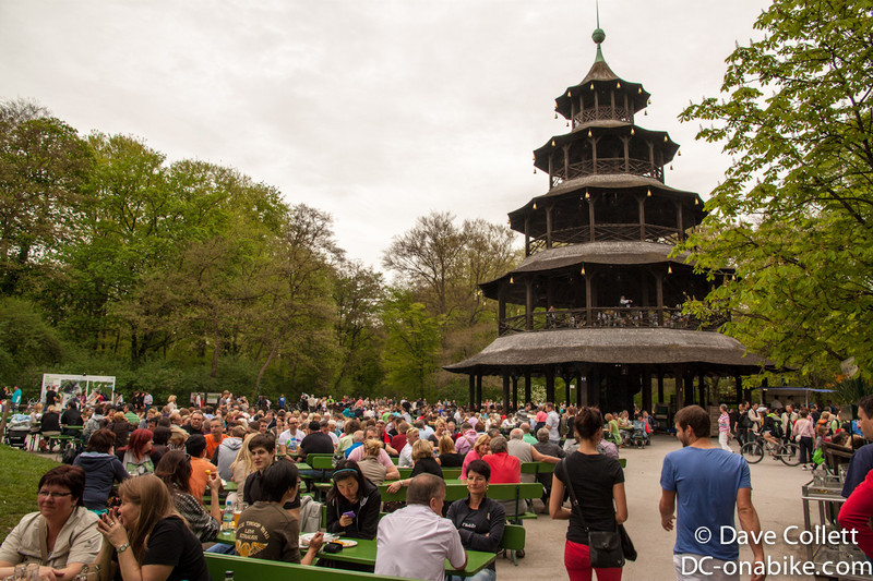 Chinese tower, with a brass band playing in it, and the crowds