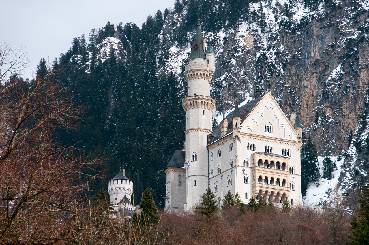 View of the castle from afar at Neuschwanstein Castle in Germany