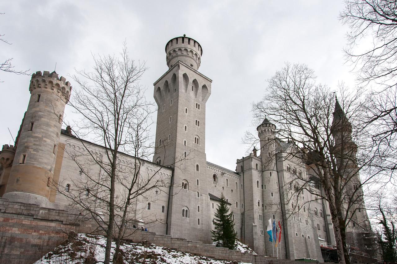 The Neuschwanstein Castle facade in Germany