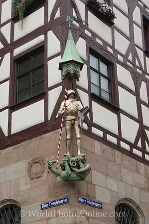 Nuremberg - Knight Killing Dragon Statue on Building