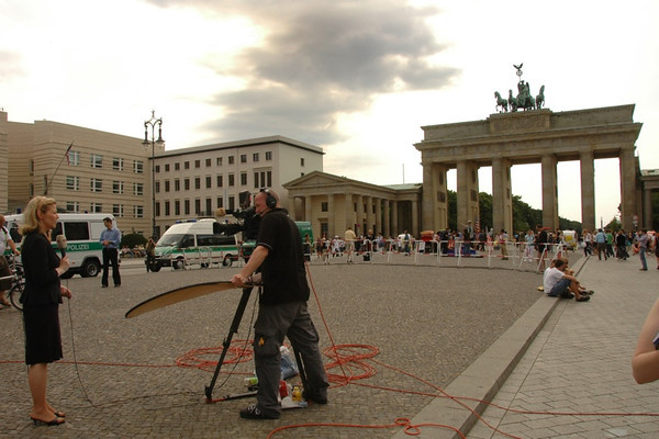 News Crew Waiting for Obama - Berlin, Germany