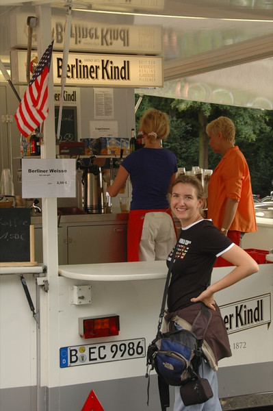 Audrey at German Beer Stand - Berlin, Germany