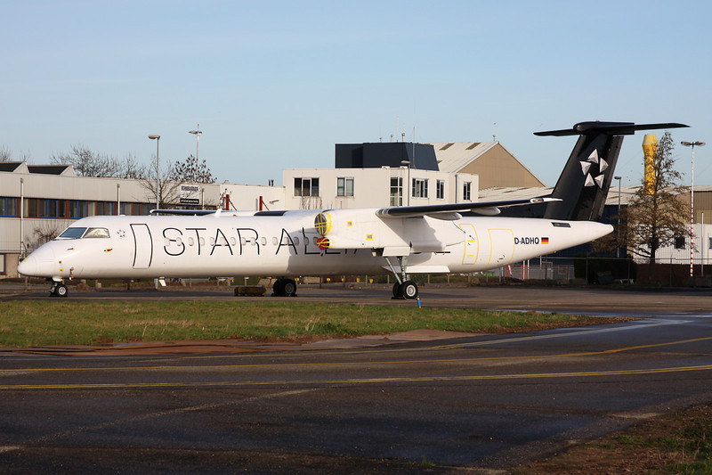 "D-ADHQ de Havilland Canada DHC-8Q-402 ""Augsburg Airways"" c/n 4016 Maastricht-Aachen/EHBK/MST 31-12-13 ""Star Alliance"""
