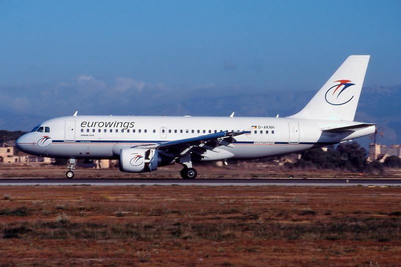"D-AKNH Airbus A319-112 ""Eurowings"" c/n 0654 Palma/LEPA/PMI 17-03-00 (35mm slide)"
