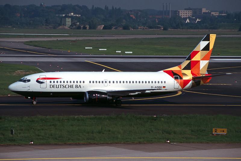 """D-ADBK Boeing 737-31S """"Deutsche BA"""" c/n 29055 Dusseldorf/EDDL/DUS 19-05-98 """"Bauhaus"""" (35mm slide)"""