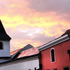 Germany, Passau, Passau Steeple, Sunset