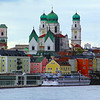 Germany, Passau, View on City from Water with St. Stefan's Dom