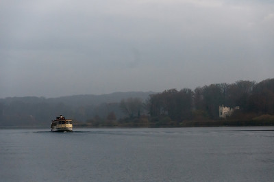 Ferry cruising over Lake Schwielowsee in Potsdam, Germany
