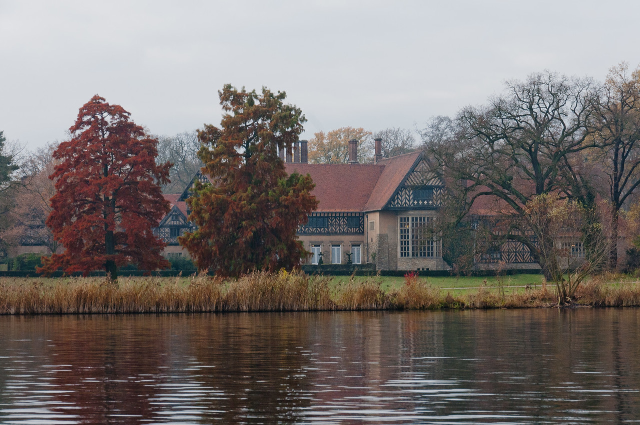 Beautiful view along river bank of Lake Schwielowsee in Potsdam, Germany