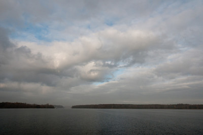 Heavy clouds over Lake Schwielowsee in Potsdam, Germany
