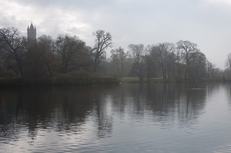 Fog covering trees near the lake in Potsdam, Germany