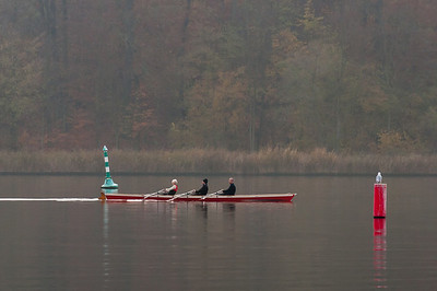 Rowers in Lake Schwielowsee in Potsdam, Germany