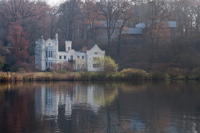 White house near the lake in Potsdam, Germany